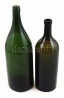 2 Db Palack, Aljukon Felirattal: Haggenmacher és Bikszádi Víz M: 28,5 és 33,5 Cm - Vidrio & Cristal