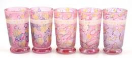 5 Db Héber Feliratos Festett üvegpohár, Kis Kopásnyomokkal, M: 12,5 Cm - Vidrio & Cristal