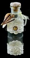 Csipkével, Kagylóval és Régi Bizsuval Díszített üveg Palack, Dugó Fából és Parafából, 0,5 L űrtartalom, M: 23 Cm - Vidrio & Cristal