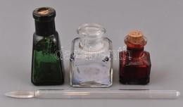 3 Db Tintás üveg Használt állapotban, M: 5 Cm, 5,5 Cm, 7,5 Cm + üveg Penna, A Hegye Törött, H: 16 Cm - Vidrio & Cristal