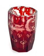 Antik Rubin Vörös Pohár. Kézzel Festett. Kopásokkal 7,5 Cm - Vidrio & Cristal