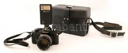Nikon EM Fényképezőgép Nikkor 50 Mm 1:1,8-as Objektívvel, Nikon SB-E Vakuval, Műbőr Táskában, - Macchine Fotografiche