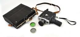 Lomo Orosz Filmfelvevő Kamera, Super 8-as, 2 Filterrel, Eredeti Táskájában, Az Oldalán Oxidáció Nyomaival. / Vintage Rus - Appareils Photo