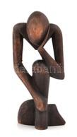 Gondolkodó, Afrikai Fa Faragás, Jelzés Nélkül, M: 17,5 Cm - Autres Collections