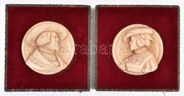 V. Károly és Izabella Mellképe Műgyanta. Bársony és Fém Keretben. 10x10 Cm - Autres Collections