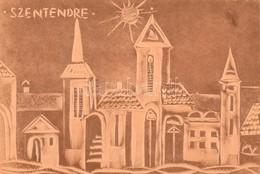 Szentendre, Dombornyomott Bőr Kép, Fa Alapon, 13×17,5 Cm - Autres Collections