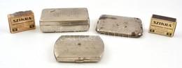 2 Db Fém Cigarettatárca, Kopott + 1 Db Fém Dohányos Doboz, Kopott + 2 Db Szikra Gyufa - Autres Collections