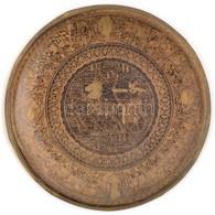 Ókori-egyiptomi Témával Díszített Réz Falilemez, D: 19 Cm - Autres Collections