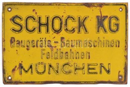 Régi Fém Tábla: Schock KG München, Rozsdás, 16×24 Cm - Autres Collections