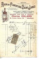 Facture 1/2 Format 1899 / 25 BESANCON / C COLLARD / Epicerie / Rhum SAINT JAMES / LAMBERT Martinique Paris, Londres - Alimentos