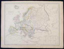 1847 Európa Nagyméretű Határszínezett Rézmetszetű Térképe. / 1847 Sharpe's Corresponding Map Of Europe With Steamship Ro - Kaarten