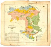1846 Stájerország Kőnyomatú Térképe Beszakadásokkal. / Map Of Steiermark With Tears. 42x38 Cm - Kaarten