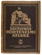 1935 Barthos-Kurucz: Egyetemes Történelmi Atlasz. Bp., M. Kir. Állami Térképészet, 40 P. Papírkötésben, Kissé Kopott Bor - Kaarten