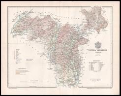 1896 Nyitra Vármegye Térképe, Tervezte: Gönczy Pál, Kiadja: Posner Károly Lajos és Fia, Hátoldalon A Hajtásnál Megerősít - Kaarten