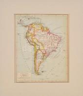 Cca 1894 Dél-Amerika Politikai Térképe, Pallas Nagy Lexikona, 1:30000000, Bp., Posner Károly Lajos és Fia, Paszpartuban, - Kaarten