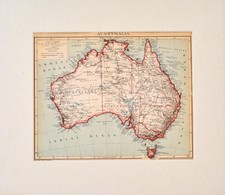 Cca 1900 Ausztrália Térképe, Pallas Nagy Lexikona, Bp., Posner, Paszpartuban, 22x28 Cm - Kaarten