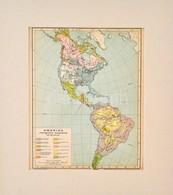 Cca 1900 Amerika Ethnográfiai állapotának Térképe, Pallas Nagy Lexikona, Bp., Posner, Paszpartuban, 28x23 Cm - Kaarten