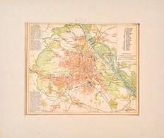 Cca 1900 Bécs Térképe, Pallas Nagy Lexikona, Bp., Pallas, Paszpartuban, 22x28 Cm - Kaarten