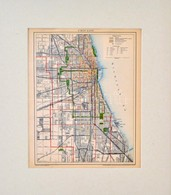 Cca 1900 Chicago Város Térképe, Pallas Nagy Lexikona, Bp., Posner, Paszpartuban, 28x23 Cm - Kaarten