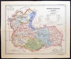 Cca 1922 Sopron Vármegye Térképe, Kiadja: Magyar Földrajzi Intézet Rt., 1:350.000, Kis Szakadással, 27×32 Cm - Kaarten