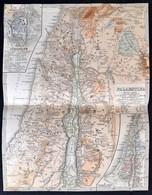Cca 1870 Palesztina Térképe, Jeruzsálemmel, és A Tizenkét Törzs Vidékeinek átnézeti Térképével, Rotációs Fametszet, Körb - Kaarten