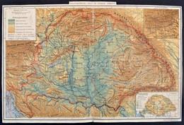 Magyarország Hegy-és Vízrajzi Térképe. 1:2.500.000. Bp, Posner. Hajtott, 27x40,5 Cm - Kaarten