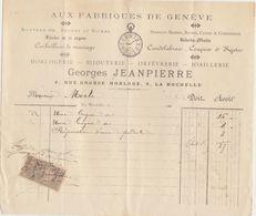 """Charente, La Rochelle, """"Au Fabriques De Genève"""", Horlogerie G. Jeanpierre 1897 - 1800 – 1899"""