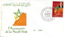 """Maroc ; FDC 1976; """" 1er Anniversaire De La Marche Verte """"Morocco,Marruecos - Maroc (1956-...)"""