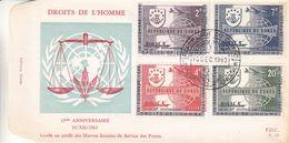 République Du Congo - Lettre De FDC 1963 - Oblit Leopoldville - Droits De L'homme - - Republiek Congo (1960-64)
