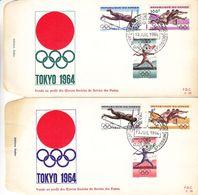 République Du Congo - Lettre De FDC 1964 - Oblit Leopoldville - Jeux Olympiques Tokyo - Haies-javelot-saut à La Perche - Republiek Congo (1960-64)