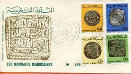 "Maroc;FDC 1976 ; TP N°746/749 "" Monnaies Marocaines ""Morocco;Marruecos - Maroc (1956-...)"