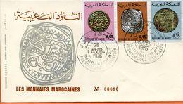 "Maroc;FDC 1976 , TP N°756/758 "" Monnaies Marocaines ""Morocco;Marruecos - Maroc (1956-...)"