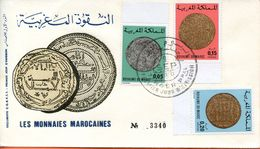 "Maroc;FDC 1976; TP N°760/770/771 "" Monnaies Marocaines ""Morocco;Marruecos - Maroc (1956-...)"