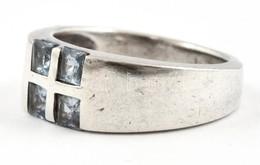 Ezüst(Ag) Kék Kövekkel Díszített Gyűrű, Jelzett, Méret: 53, Bruttó: 5,2 G - Bijoux & Horlogerie