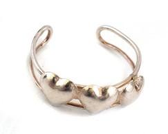 Ezüst(Ag) Szíves Gyűrű, Jelzett, állítható Méret: 51, Nettó: 0,78 G - Bijoux & Horlogerie