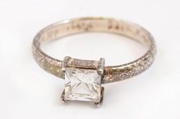 Ezüst(Ag) Soliter Köves Gyűrű, Jelzett, Méret: 54, Bruttó: 2,1 G - Bijoux & Horlogerie