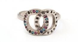 Ezüst(Ag) Dupla Körös Gyűrű, Pandora Jelzéssel, Apró Kövekkel, Méret: 58, Bruttó: 3,2 G - Bijoux & Horlogerie