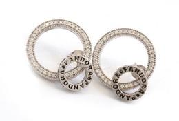 Ezüst(Ag) Dupla Karikás Fülbevalópár, Pandora Jelzéssel, D: 2 Cm, Bruttó: 3,8 G - Bijoux & Horlogerie