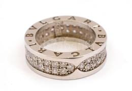 Ezüst(Ag) Apró Kövekkel Kirakott Gyűrű, Bulgari Jelzéssel, Méret: 49, Bruttó: 6,67 G - Bijoux & Horlogerie