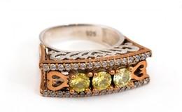 Ezüst(Ag) Szíves, Köves Gyűrű, Jelzett, Méret: 58, Bruttó: 6,73 G - Bijoux & Horlogerie