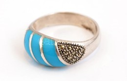 Ezüst(Ag) Gyűrű, Markazit Berakással, Jelzett, Méret: 57, Bruttó: 4,61 G - Bijoux & Horlogerie