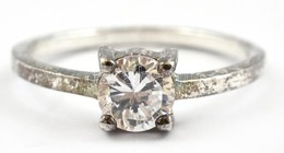 Ezüst(Ag) Szoliter Köves Gyűrű, Jelzett, Méret: 49, Bruttó: 1 G - Bijoux & Horlogerie