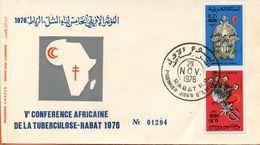 "Maroc;FDC 1976 ; 5ème Conférence Arabe Sur La Tuberculose;n°782A"" Croissant Rouge Marocain ""Morocco;Marruecos - Maroc (1956-...)"