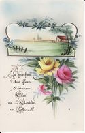 Carte Peinte à La Main , Avec Poème, 1923, 2 Scans - Illustrateurs & Photographes