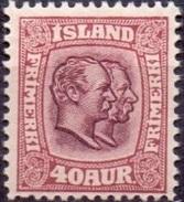 IJSLAND 1907-08 40aur Twee Koningen WM Kroon PF-MNH - Nuevos