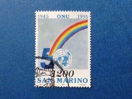 1995 SAN MARINO FRANCOBOLLO USATO STAMP USED 1200 LIRE ONU - Oblitérés