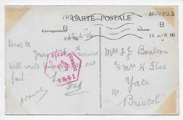 APO  2  Krag Used Rouen 1915-1919 On PC Of Rouen - Marcophilie