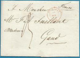 """(T-088) Belgique - Précurseur - LSC Du 13/10/1843 De COURTRAY Vers Gand + """"Franco"""" - 1830-1849 (Belgique Indépendante)"""