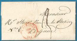 """(T-089) Belgique - Précurseur - LAC Du 16/6/1842 De COURTRAY Vers Gand + Cachet Dateur Inversé """"JUIN 16"""" - 1830-1849 (Belgique Indépendante)"""
