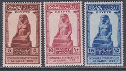 Egypte N° 131 / 33 X  Congrès De Statistique Au Caire, Les 3 Valeurs Trace De Charnière Sinon TB - Egypt